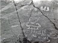 Skeppsfigur, Fotsula, Cirkelfigur, Detalj, Ikritad, Obestämbar figur